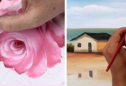 pintura de paisagens e rosas