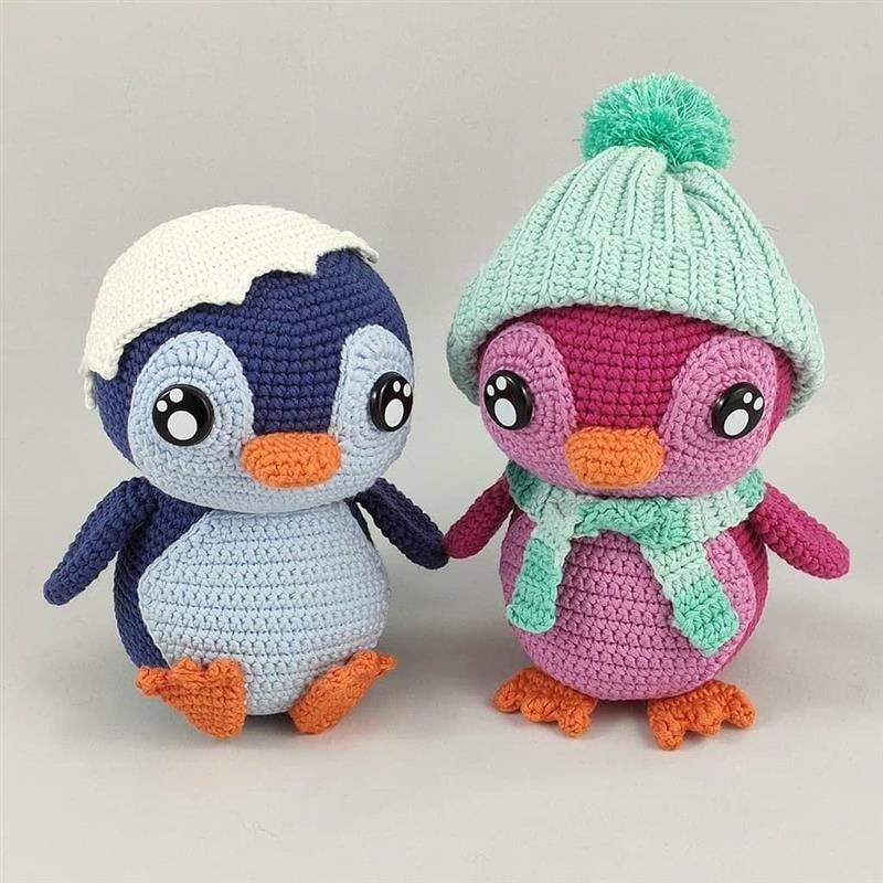 pinguins rosa e azul