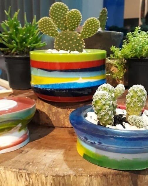vasos decorativos com resina