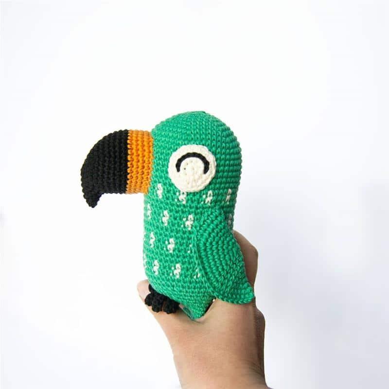 papagaio de croche verde
