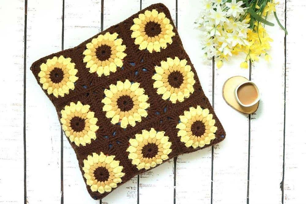 square de girassol amarelo e marrom