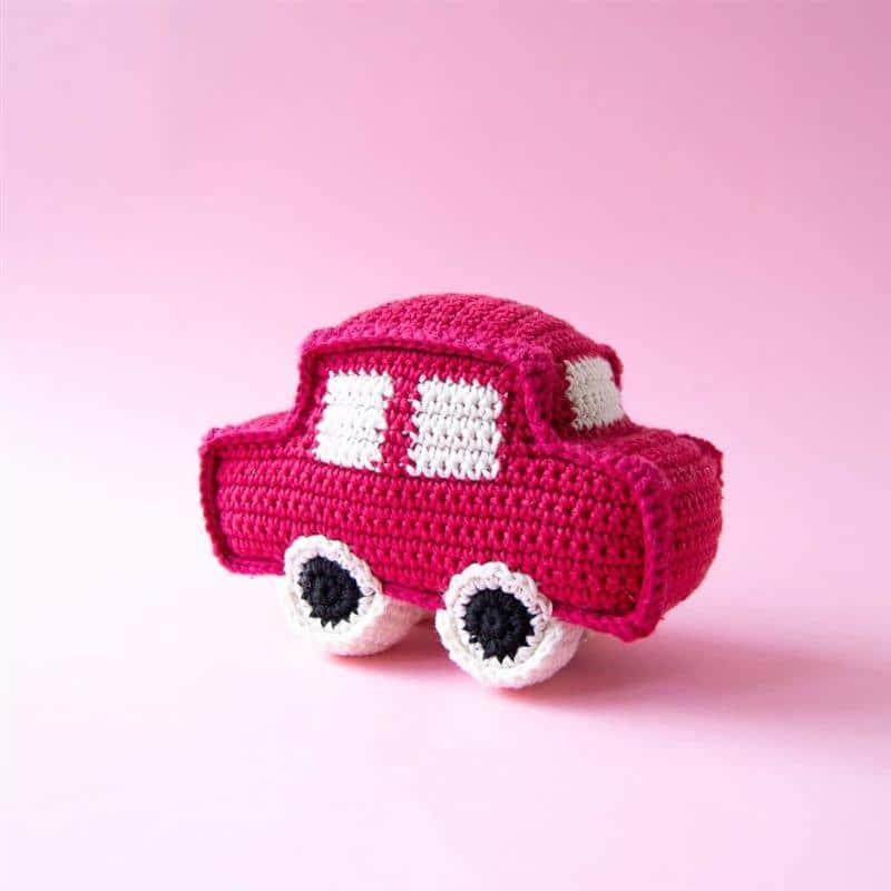 mini carrinho de croche