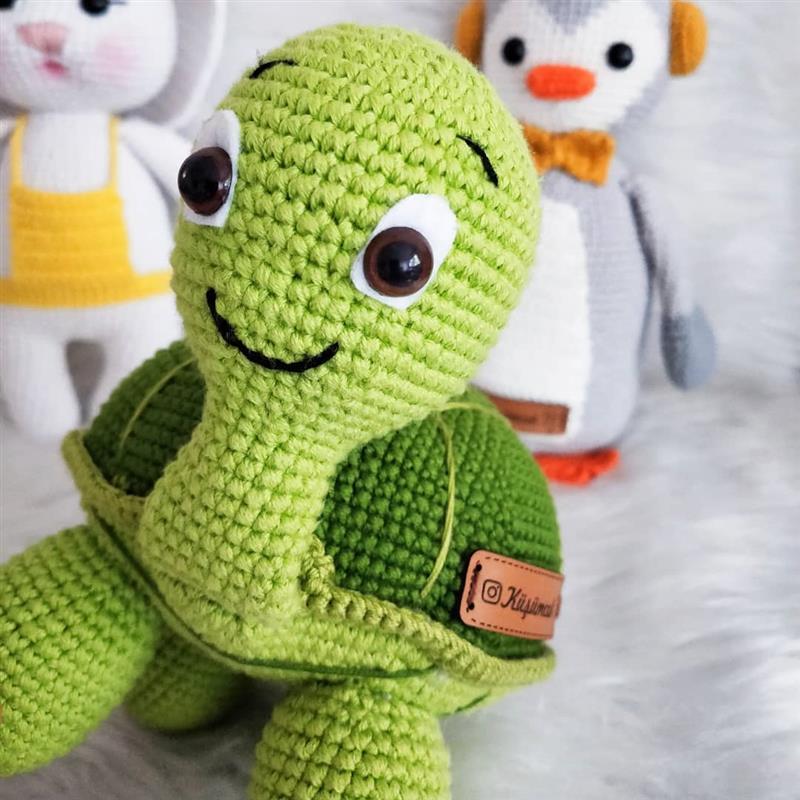 tartaruga pequena com olhos com trava