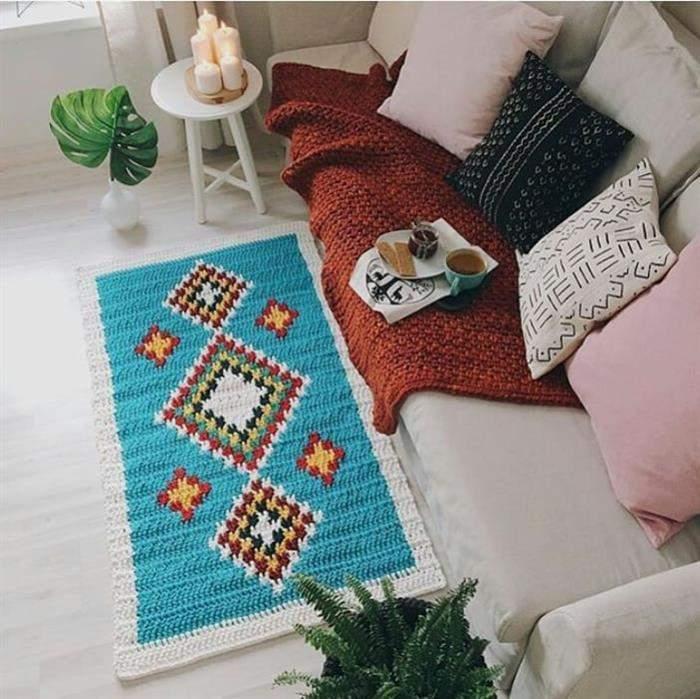decoração de croche colorida
