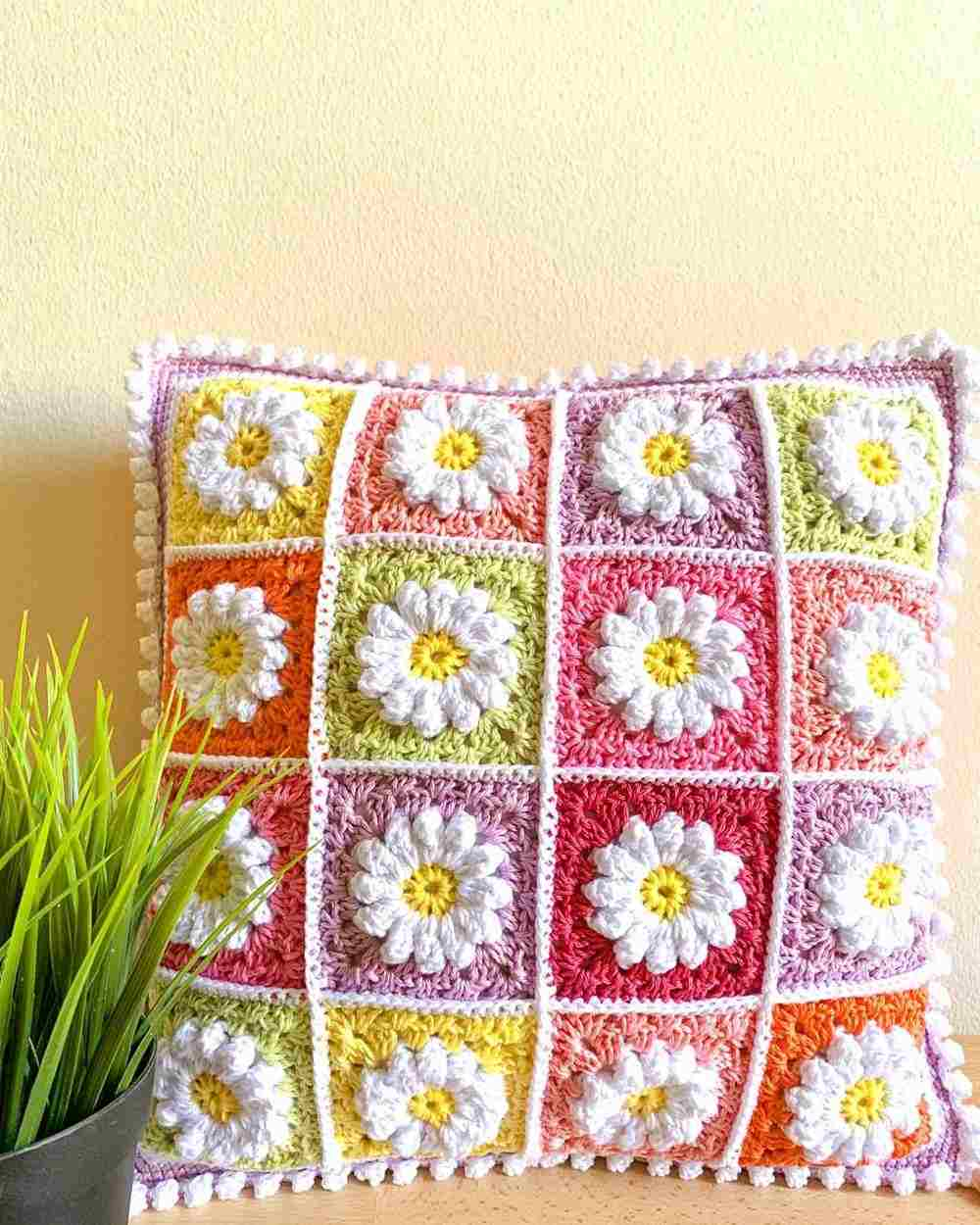 capa de almofada de croche com flores