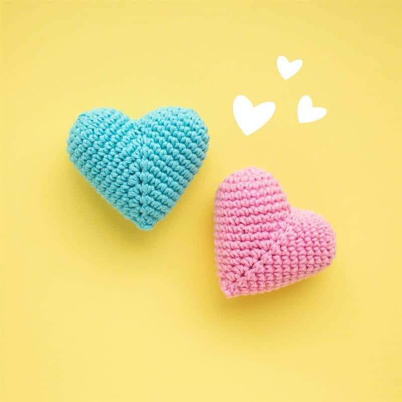 coração de crochê para chaveiro