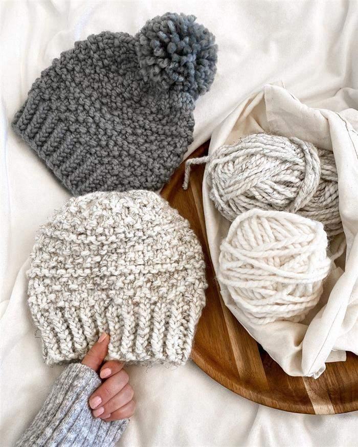 conjunto de touca de trico
