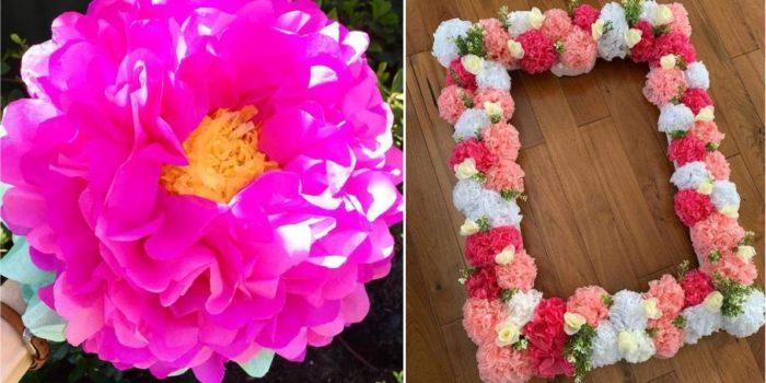 flor rosa de papel de seda