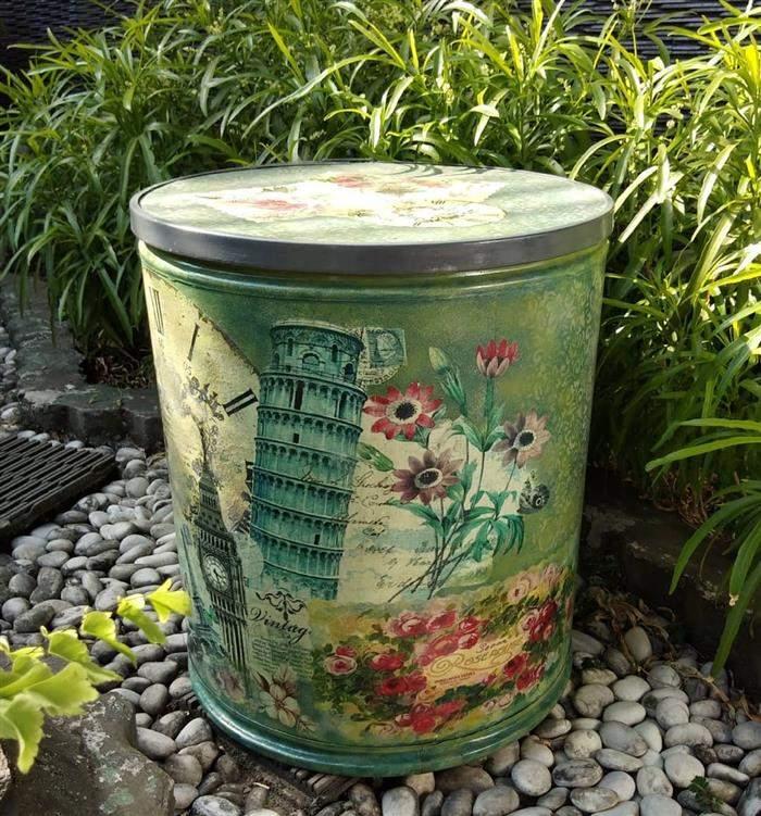 lata decorada com decoupage