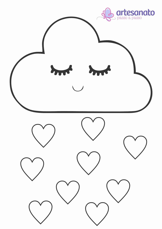 nuvem de amor em feltro com molde para impressão