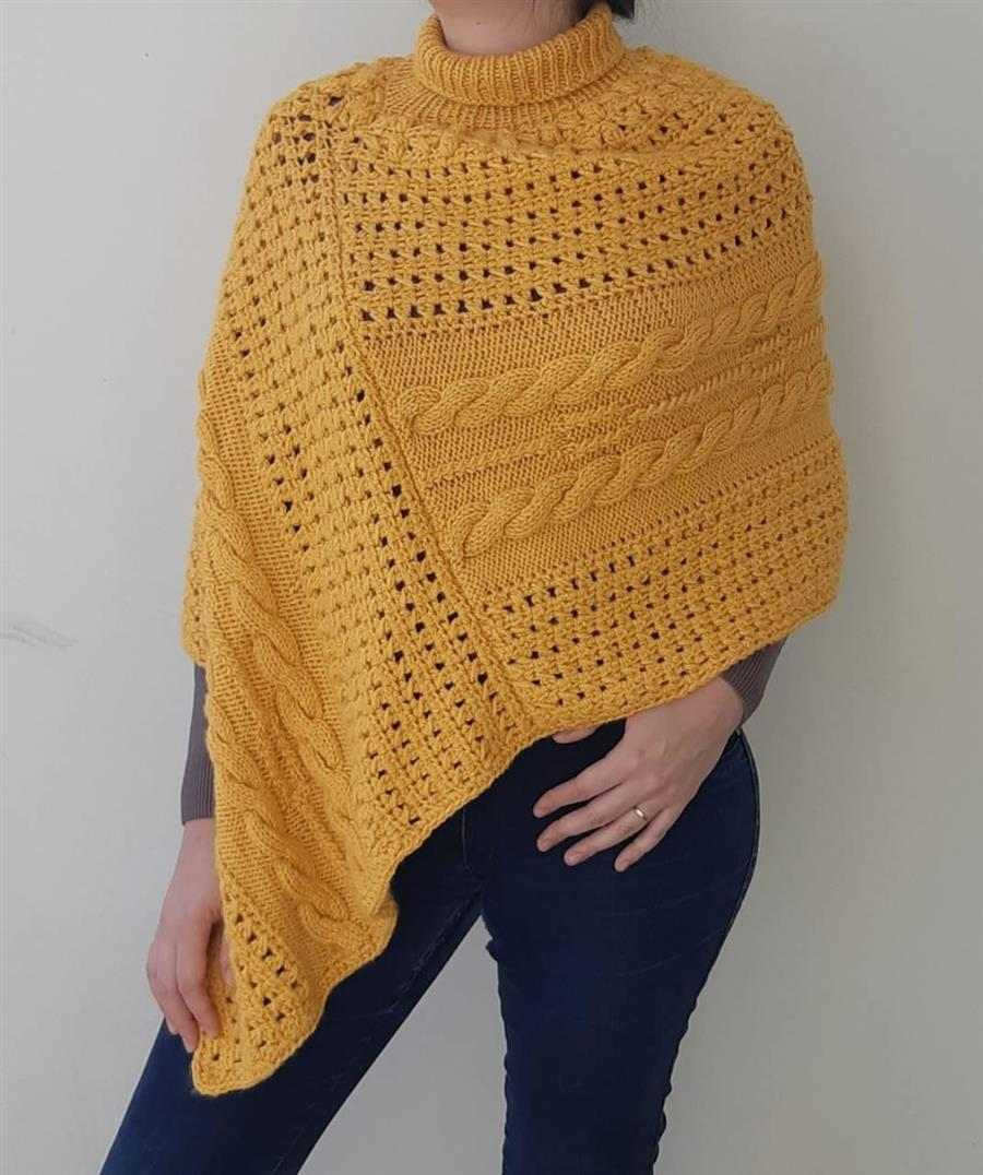poncho feminino amarelo