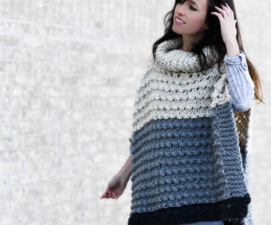modelo de poncho de trico