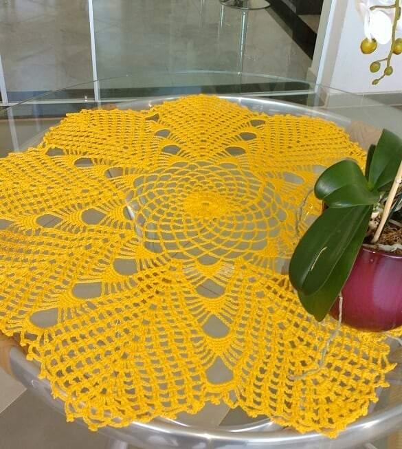 toalha amarela de croche