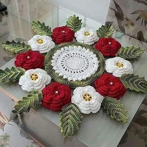 toalha circular com flores 3d