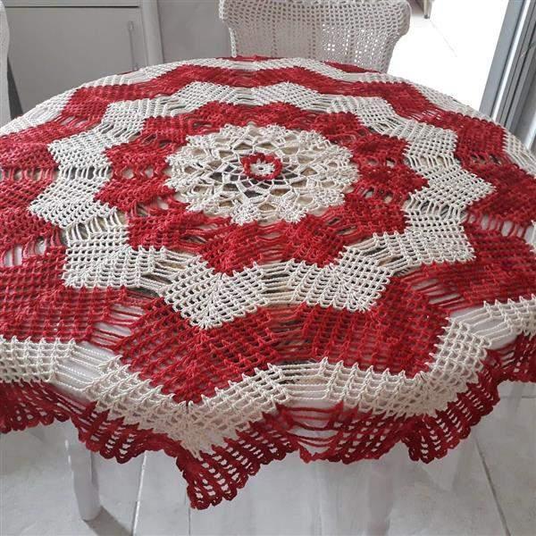 toalha de croche com duas cores
