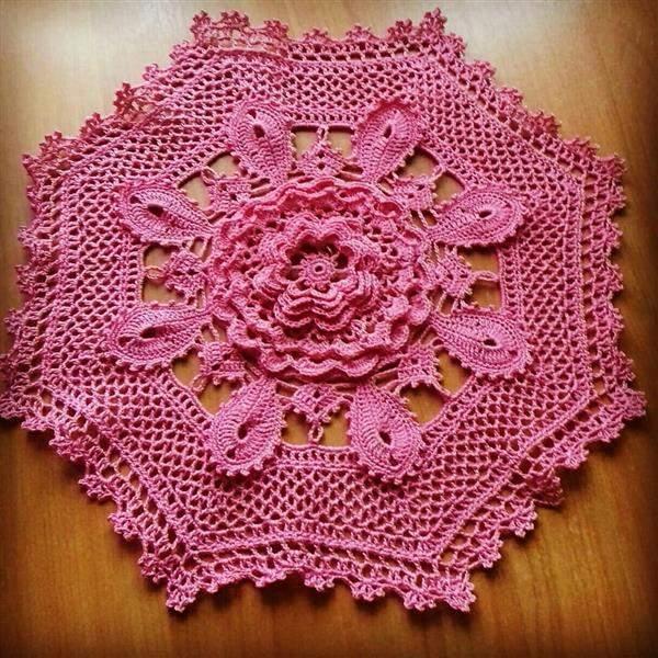 toalha de croche rosa