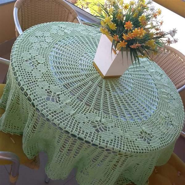 toalha de croche verde