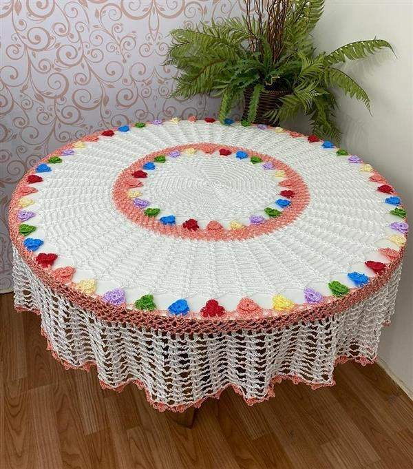 toalha de mesa redonda de croche