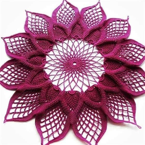 toalha flor de croche