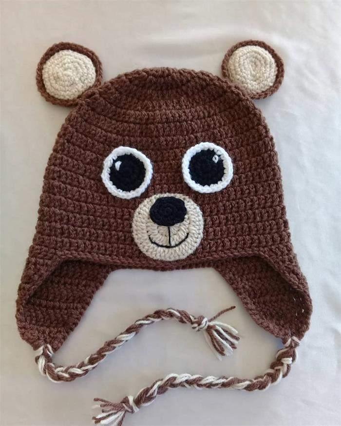 touca de ursinho de trico