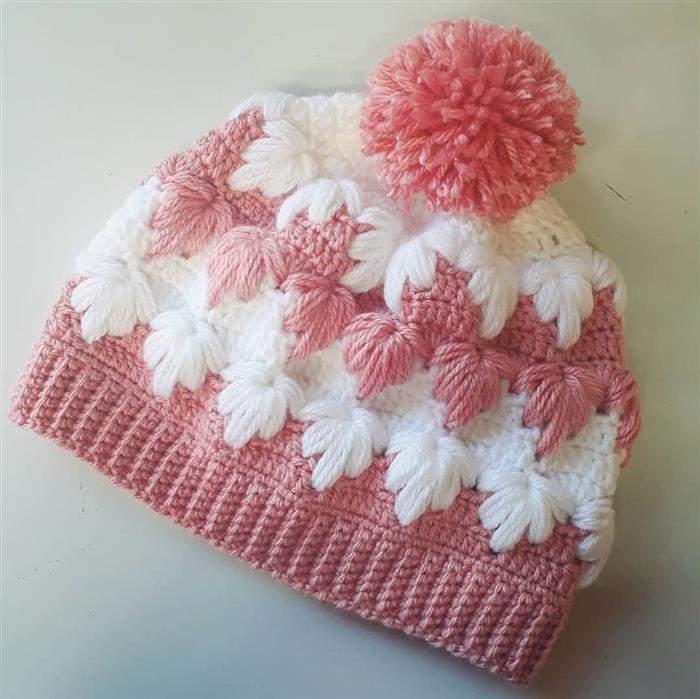 touca rosa com branco