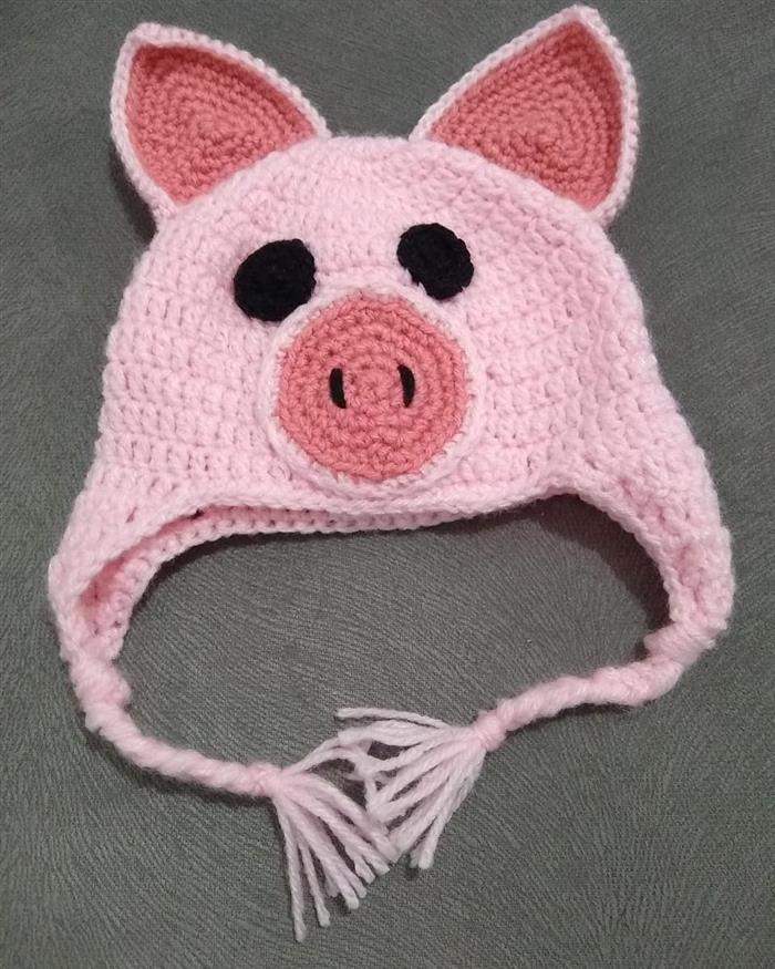 touca trico porquinho