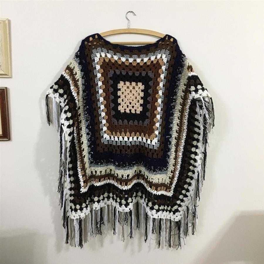 poncho square de trico
