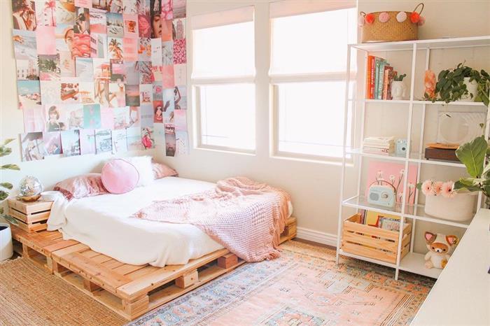 cama de casal de paletes