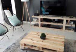 rack de pallet e mesa de centro artesanal