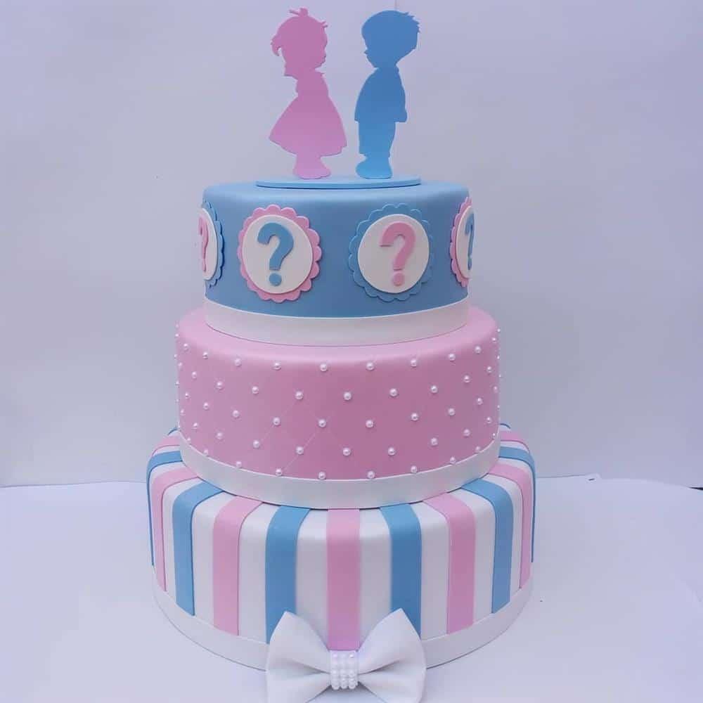 bolo fake cha revelação azul e rosa