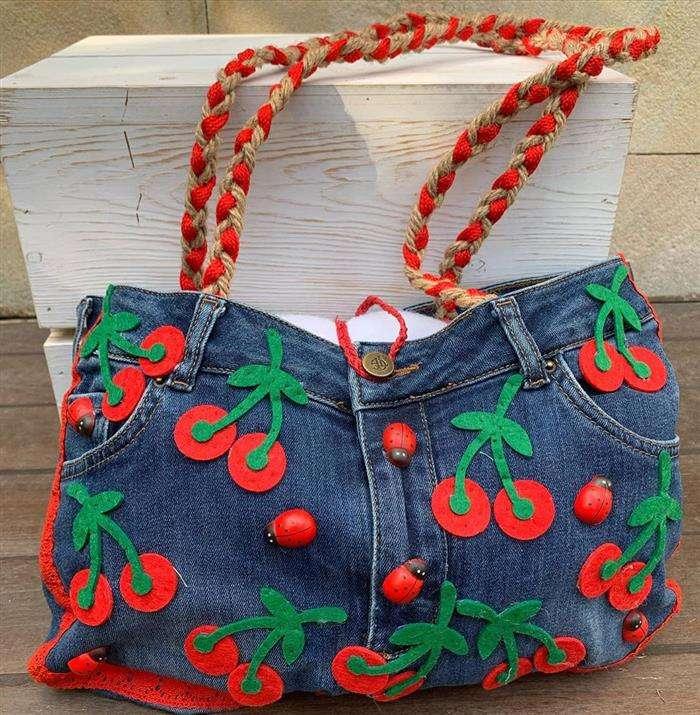 Bolsa jeans artesanal feminina