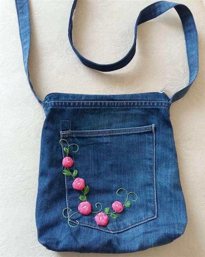 Bolsa jeans transversal
