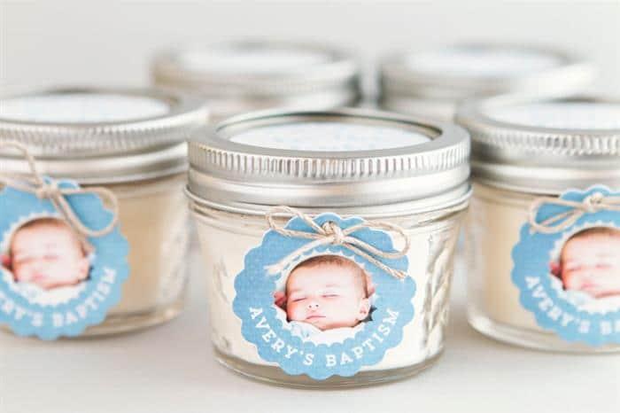potinho de vidro com foto do bebe