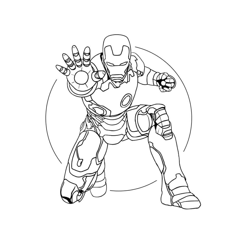 personagem homem de ferro para colorir