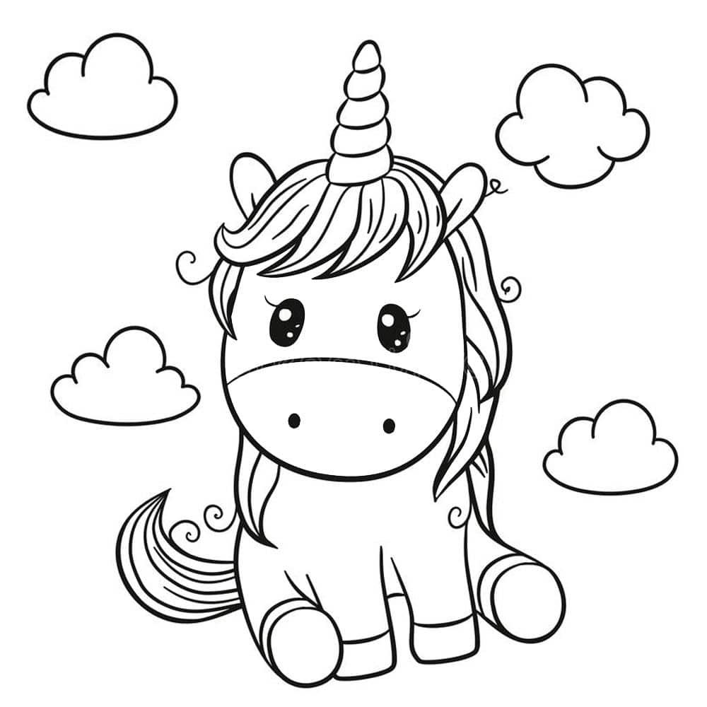 unicornio sentado para colorir