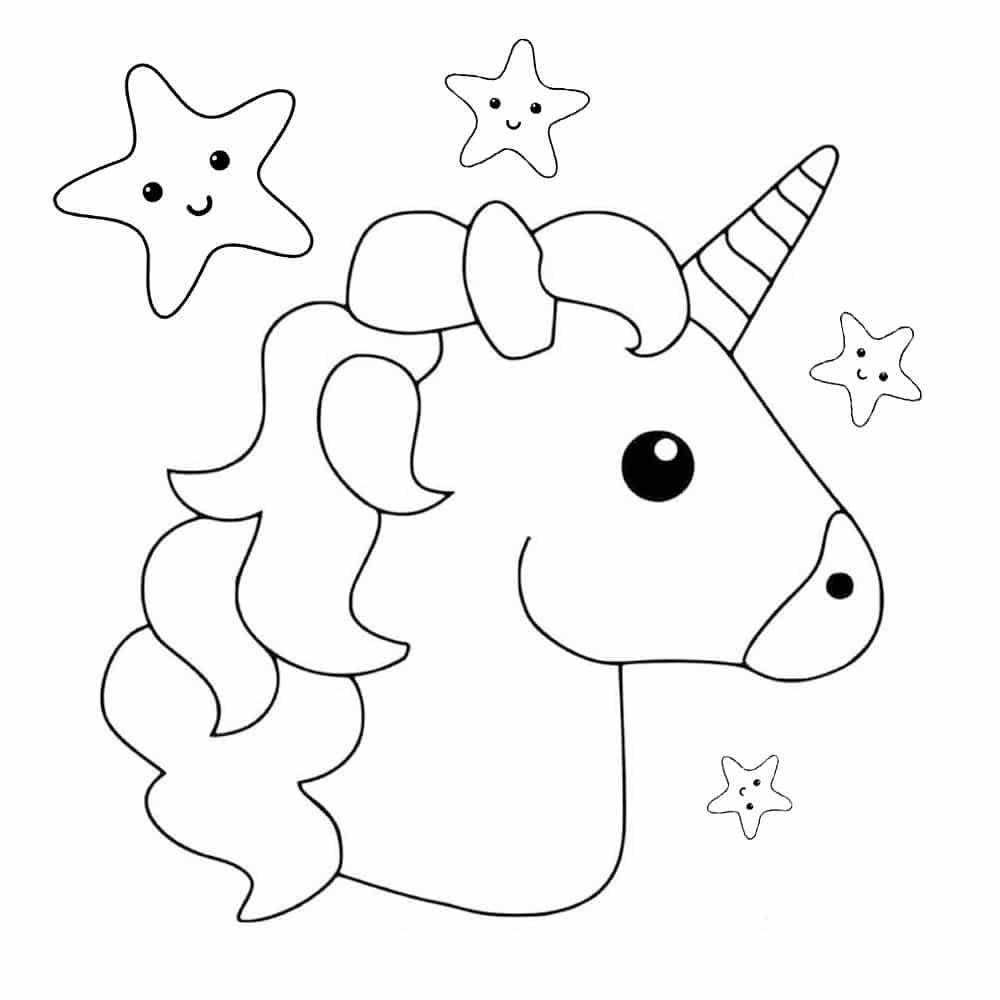 cabeça de unicornio para colorir