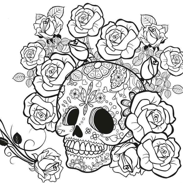 cranio com rosas