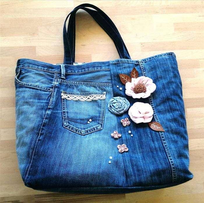 bolsa de jeans customizada