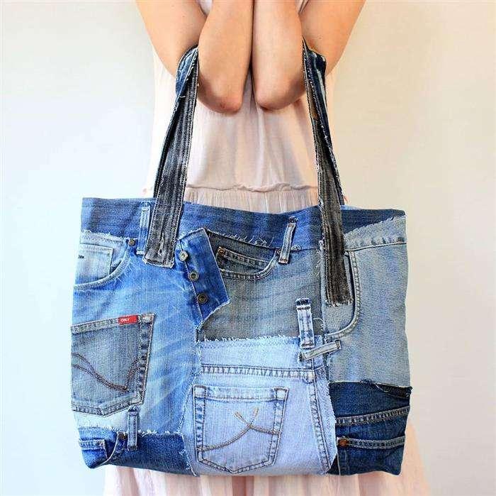 bolsa em jeans reciclado