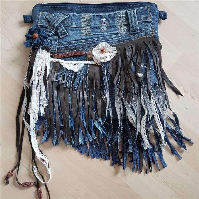bolsa jeans com couro