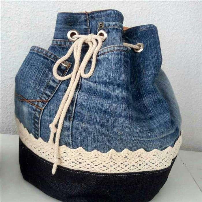 bolsa jeans de saia