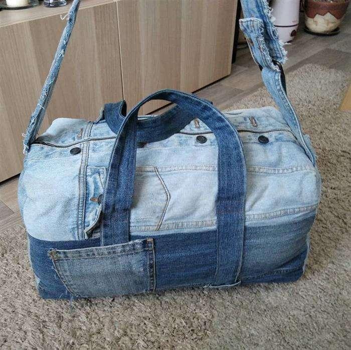 bolsa jeans de viagem