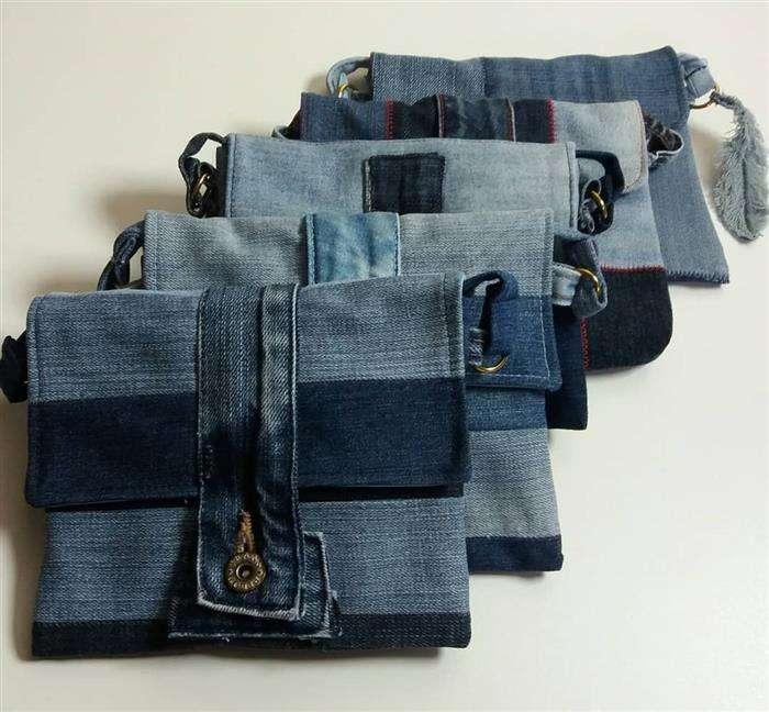 bolsa jeans feita a mao