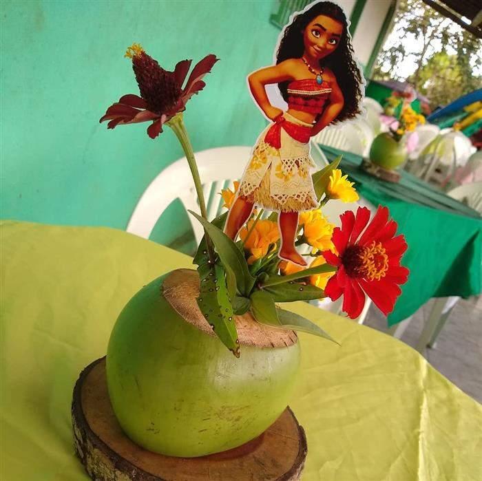 centro de mesa moana com coco