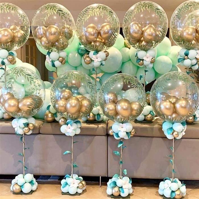 centro de mesa de cha de bebe com baloes