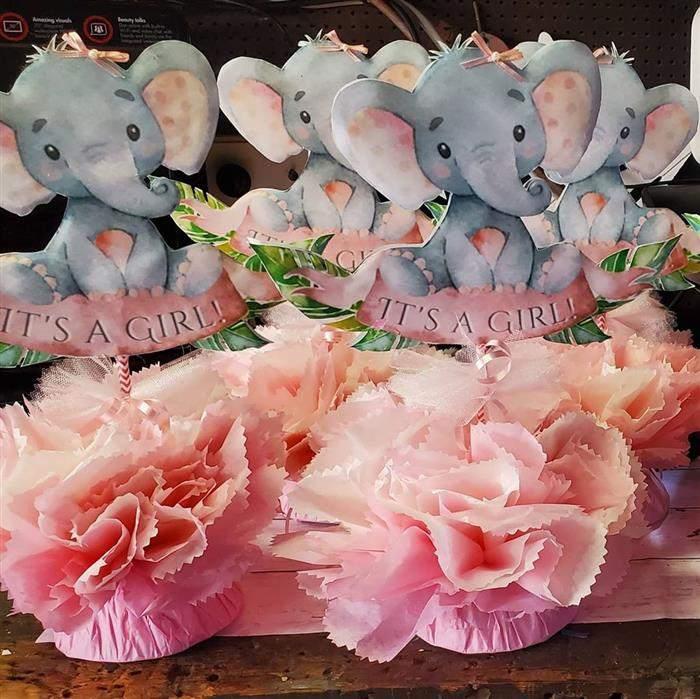 centro de mesa elefantinha rosa
