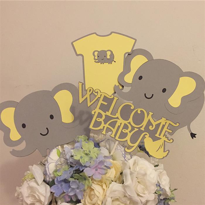 centro de mesa elefantinho amarelo