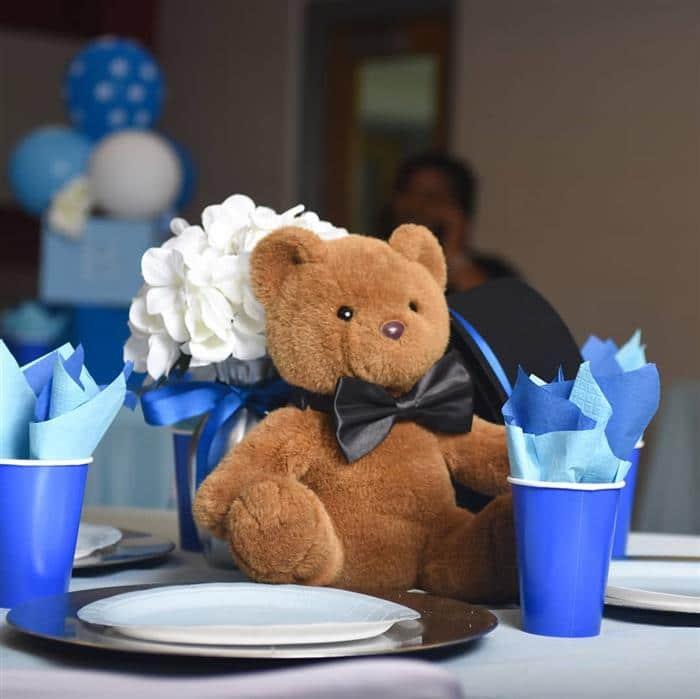 centro de mesa ursinho azul