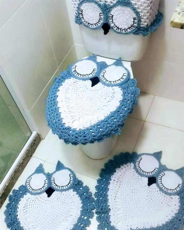 conjunto de banheiro de crochê coruja