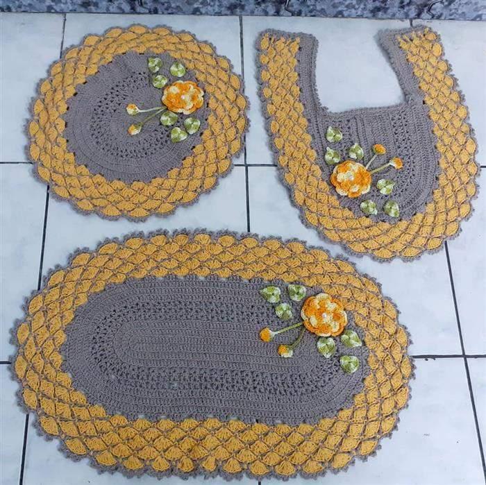 conjunto de croche amarelo com cinza